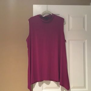 Slinky Brand shark hem mock neck sleeveless top 2X